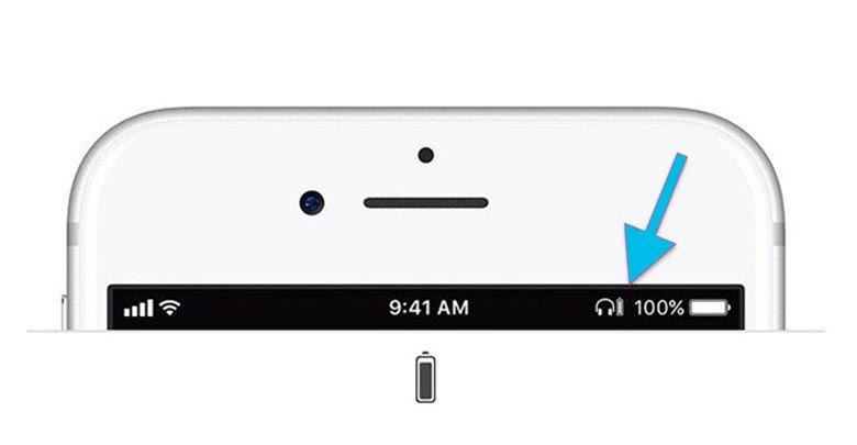 Biểu tượng Cảnh báo pin thiết bị kết nối Bluetooth trên IOS
