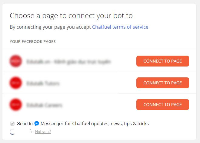 Chọn Fanpage tạo chatbot