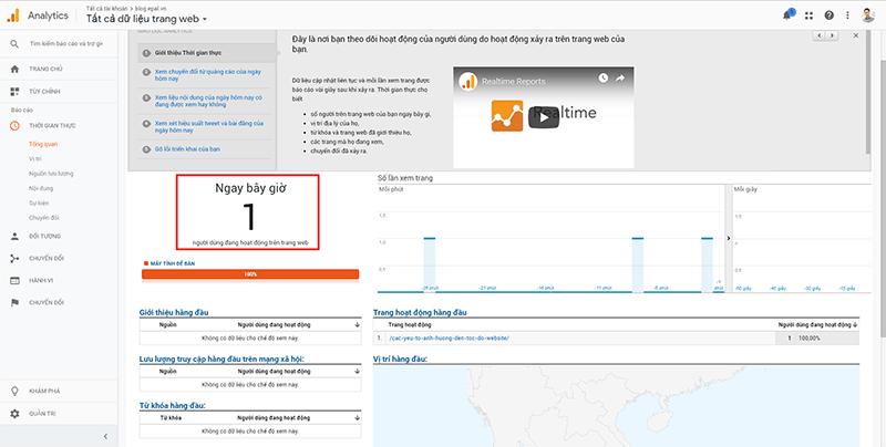 Kiểm tra hoạt động của google analytics