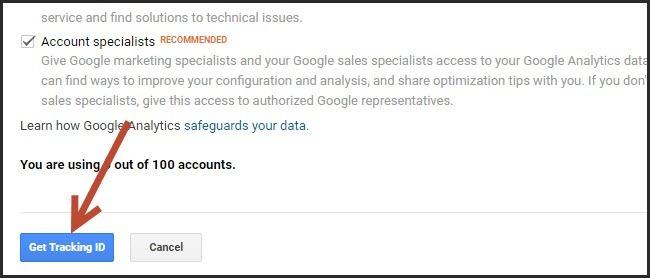 Lấy mã Google Analytics