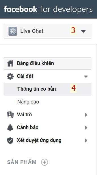 Cài đặt thông tin cơ bản cho ứng dụng chat facebook