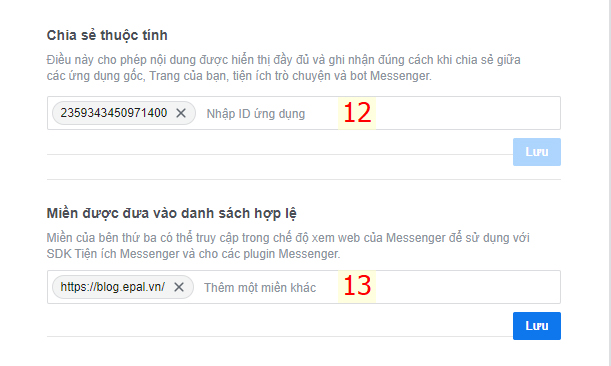 Chia sẻ thuộc tính và thêm tên miền cần hiên thị chat facebook