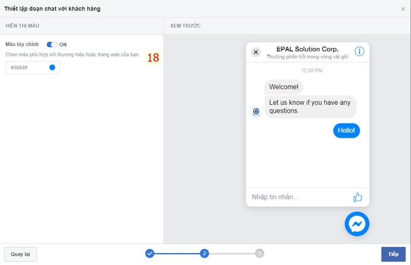Điều chỉnh màu sắc cho Icon Livechat