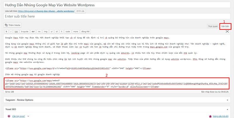 Chèn mã nhúng google doanh nghiệp vào website wordpress