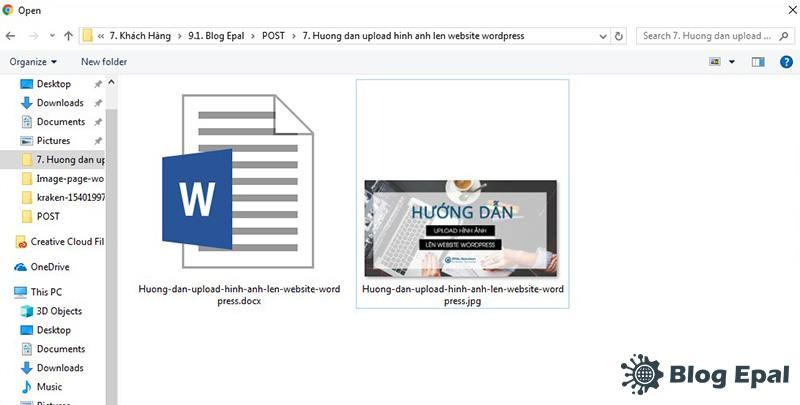 Chọn hình ảnh để upload lên website wordpress