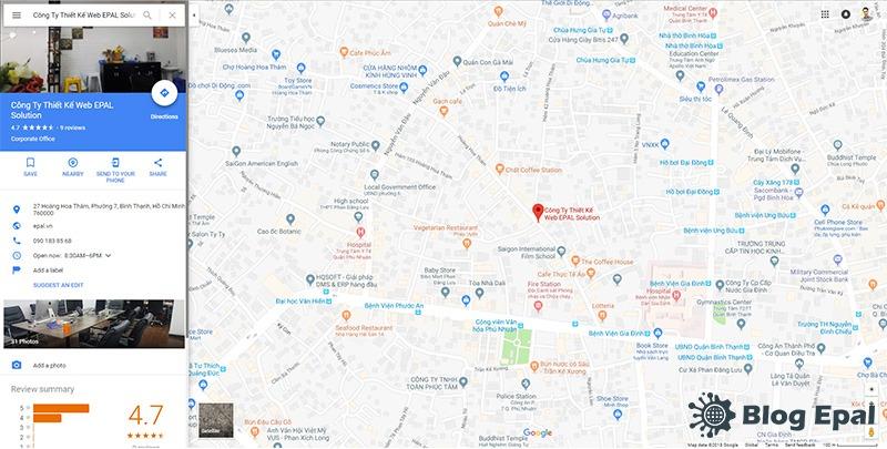 Google map của EPAL Solution từ google doanh nghiêp