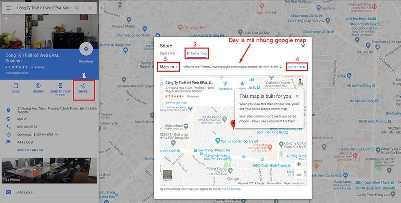 Lấy mã nhúng google map từ google doanh nghiệp