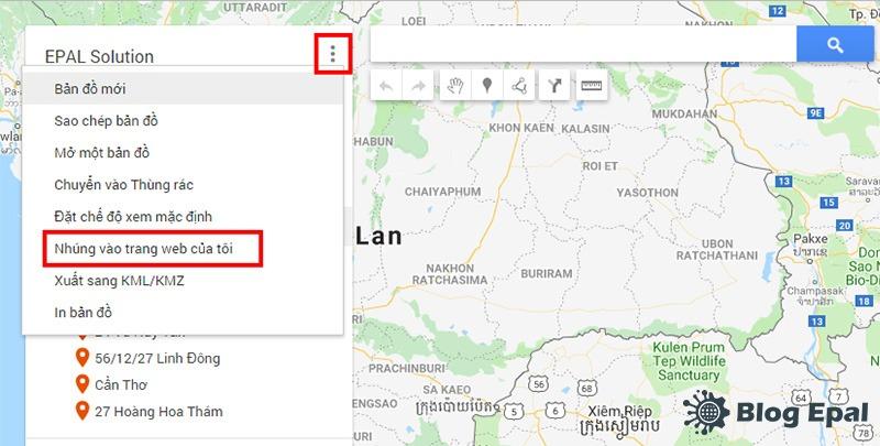 Lấy mã nhúng google map từ ứng dụng google map