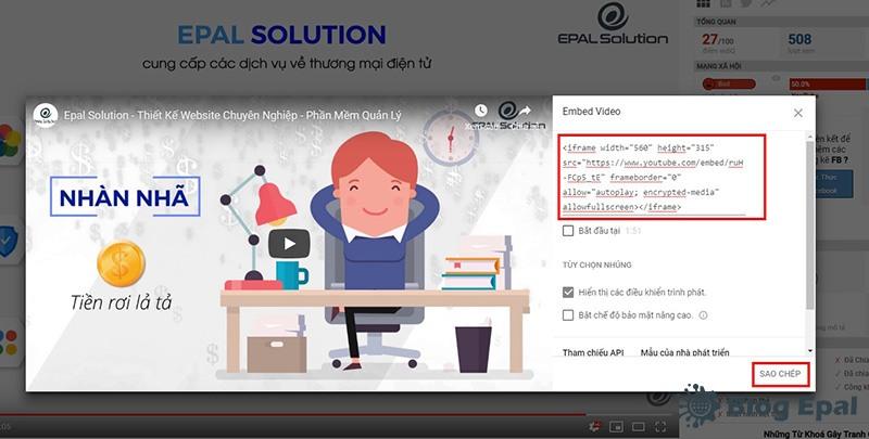 Sao chép mã nhũng của video