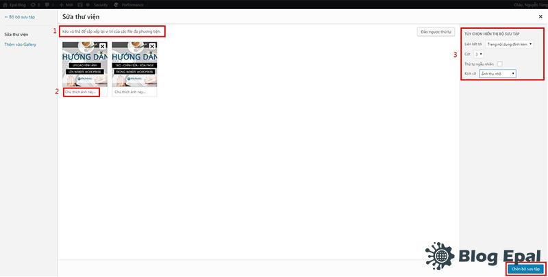 Sủa thông tin bộ sưu tập hình ảnh trong website wordpress