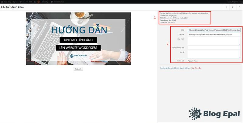 Sửa thông tin mô tả của hình ảnh trước khi upload lên website