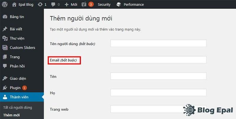 Thay đổi email user người dùng website wordpress