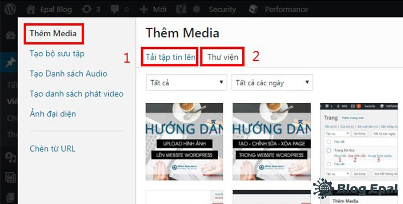Thêm media trong website wordpress