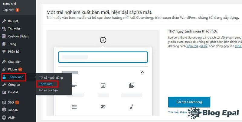 Thêm mới user trên website wordpress