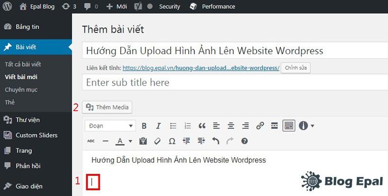 Upload hình ảnh vào bài viết của website wordpress