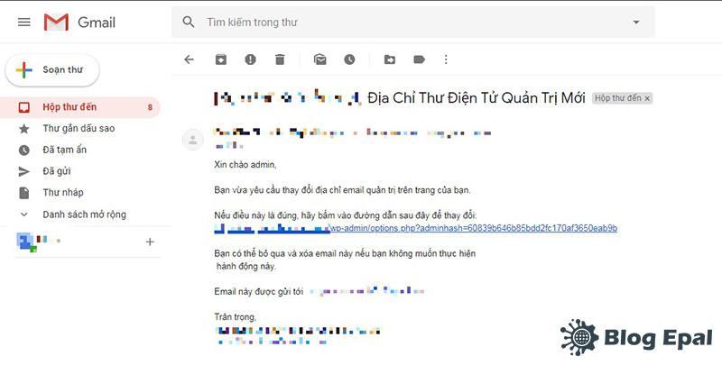 Xác nhận thay đổi địa chỉ email quản trị website wordpress