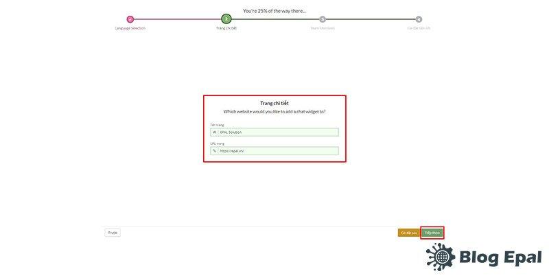 Đăng ký thông tin website sử dụng tawkto