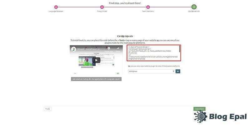 Đặt mã code tawkto vào website quản lý
