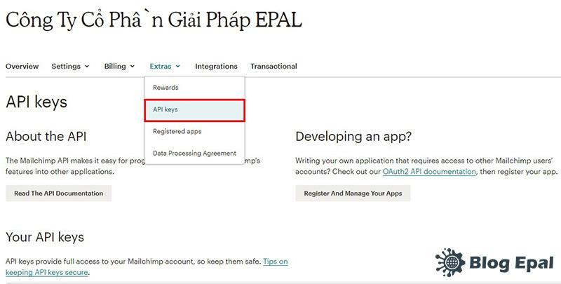 Các bước tạo API trên mailchimp