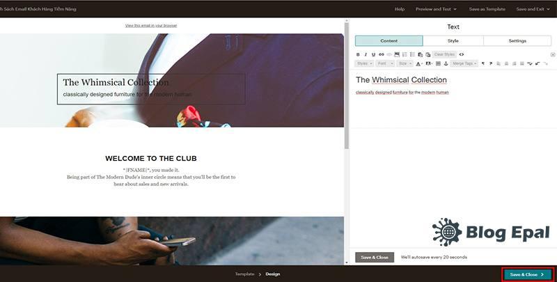 Chỉnh sửa nội dung cho template email marketing