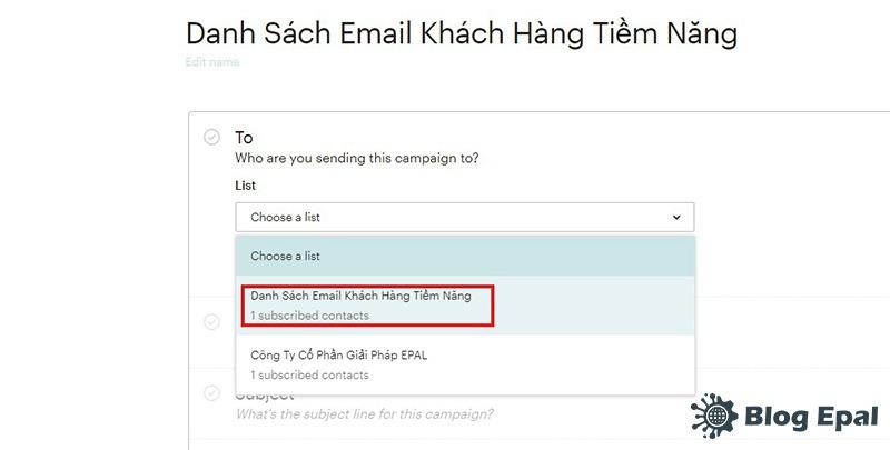 Chọn danh sách email cho chiến dịch