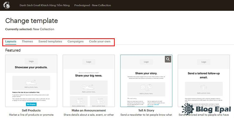 Chọn template cho chiến dịch email marketing