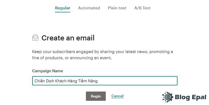 Đặt tên chiến dịch email