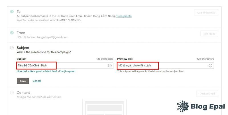 Đặt tiêu đề cho chiến dịch Email Marketing