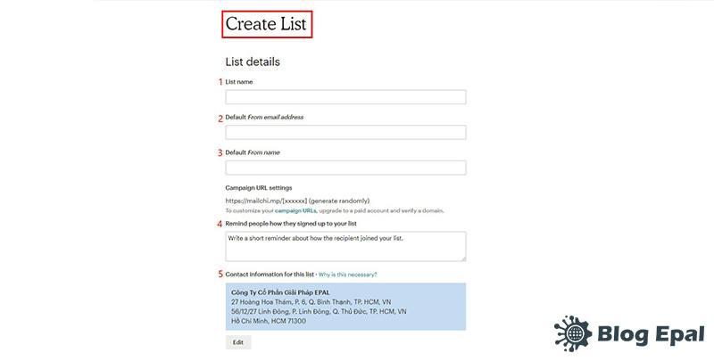 Nhập thông tin cho danh sach email