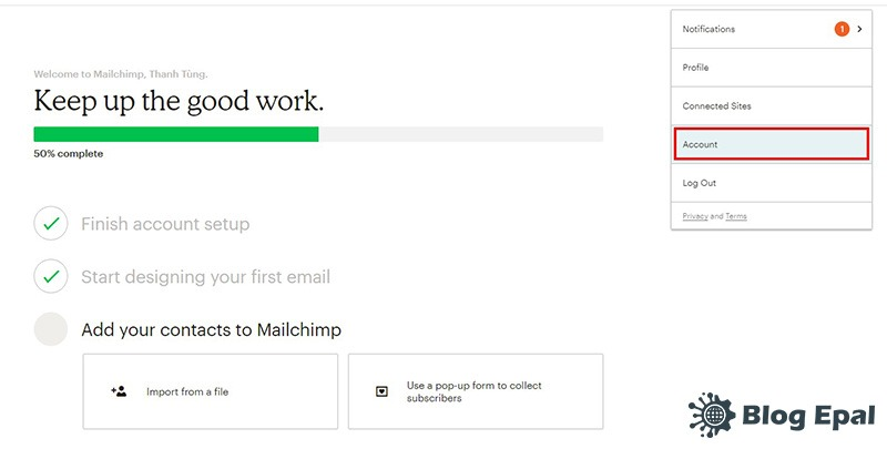 Tạo API key trên mailchimp