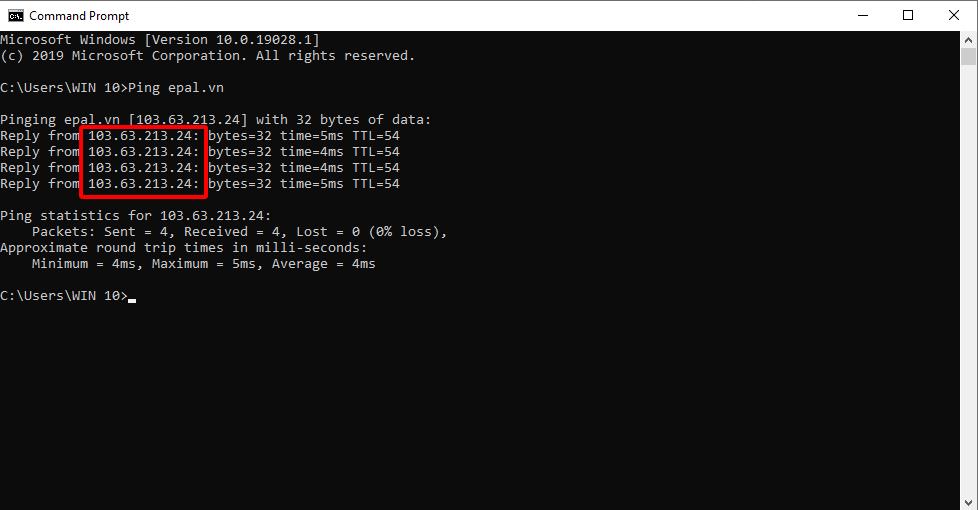 Kiểm tra trỏ tên miền về hosting bằng lệnh PING