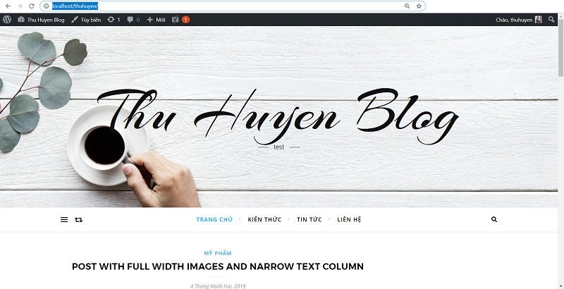 Blog được tạo trên localhost