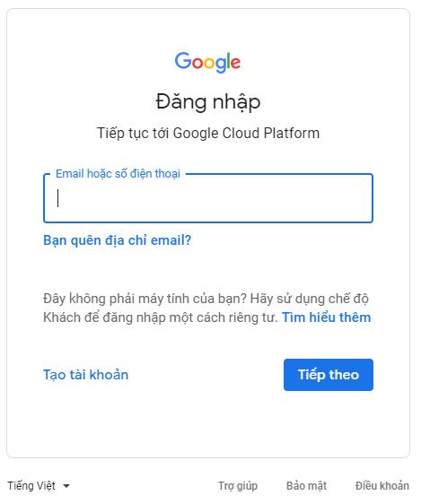Đăng nhập vào trang Google Developer Console