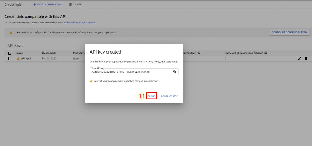 Hoàn thành tạo API Key