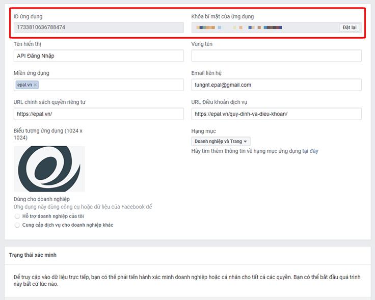 Kết quả tạo thành công API đăng nhập bằng Facebook