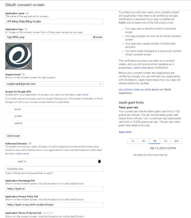 Khai Báo Thông Tin Oauth Consetn Screen Google API