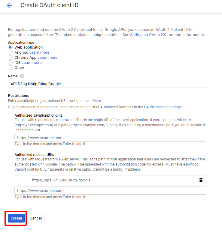 Khai báo thông tin cho Oauth Client ID Google API