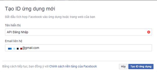 Nhập thông tin tạo ứng dụng API đăng nhập bằng Facebook