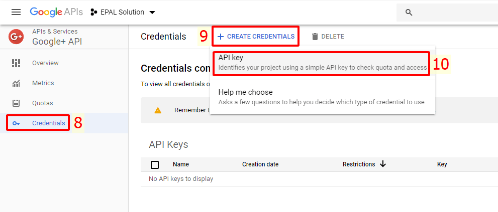 Tạo API Key