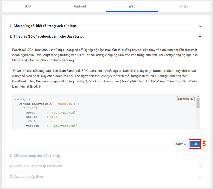 Thiết lập SDK Facebook dành cho JavaScript